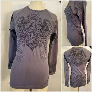 Athleta Long Sleeve Twill Top XS Crewneck Gray